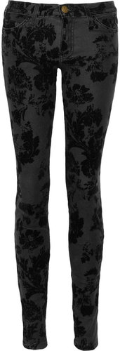 Current/Elliott The Ankle velvet-flocked skinny jeans