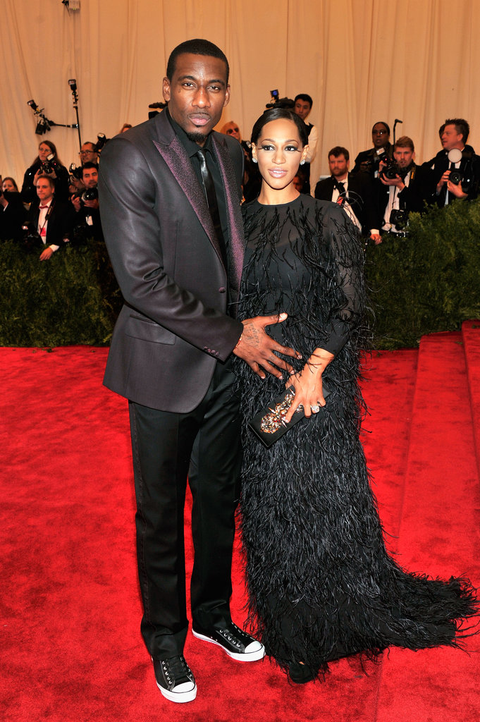 Amar'e Stoudemire and Alexis Welch matched their punk-chic black-on-black looks — Alexis's Giambattista Valli gown perfectly complemented her growing baby bump.