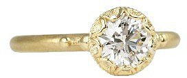 Megan Thorne Scalloped Bezel Ring in Yellow Gold with Brilliant Cut Diamond (.85 ct)
