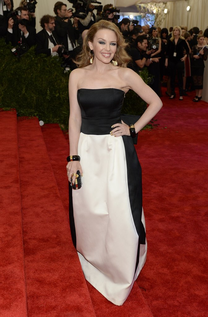 Kylie Minogue took the black-and-white direction in a strapless Moschino gown.