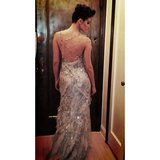 Emmy Rossum showed off the sexy backside of her Donna Karan Atelier gown. Source: Instagram user emmyrossum