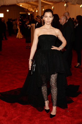 Jessica Biel layered a black strapless Giambattista Valli gown over cobweb leggings, dusting the look with Fred Leighton jewels.