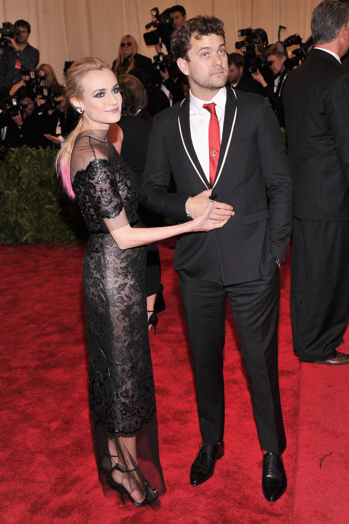 Diane Kruger's black Chanel sheath felt extraconservative thanks to black netting up to her throat and all the way over her ankles. She made things punkier with a dip-dyed ponytail (boyfriend Joshua Jackson left the hot pink to her).