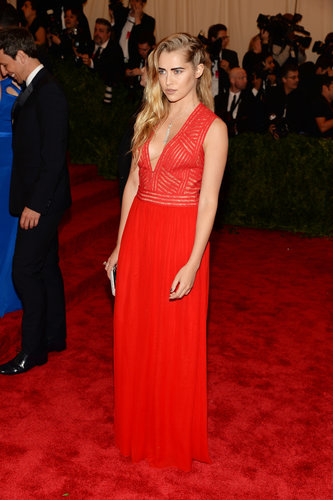 Teresa Palmer didn't skimp on the bright in a red plunging Diane von Furstenberg gown and Maria Canale for Forevermark jewels.