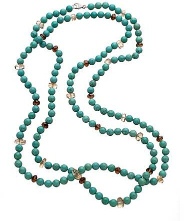 M Pearl Long Beaded Turquoise Necklace