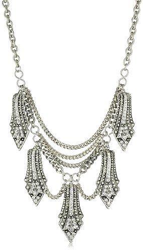 Yochi Clear Crystal Overlay Shape Necklace