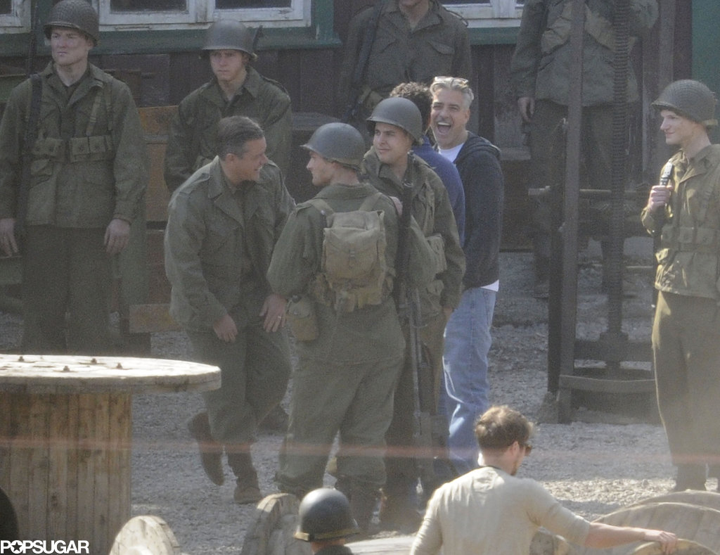 George Clooney and an in-costume Matt Damon laughed on the set of The Monuments Men in Bad Grund, Germany, on Monday.