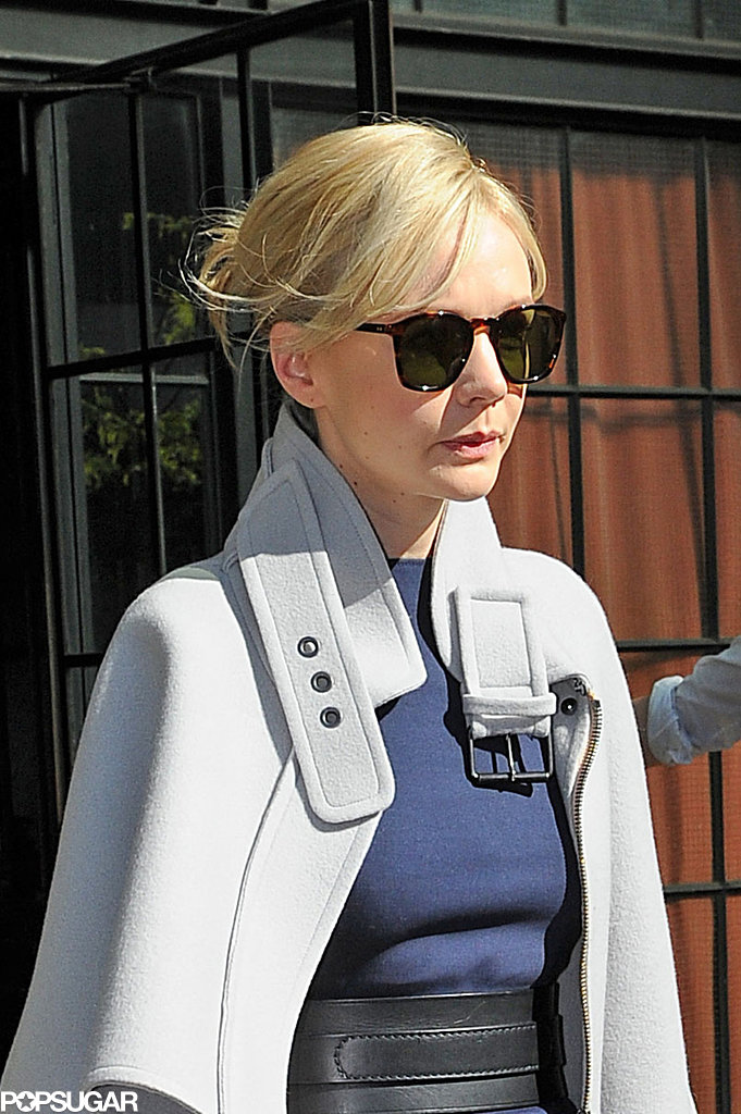Carey Mulligan sported shades as she left her hotel.