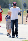 Ryan Phillippe rooted on son Deacon during a flag football game in LA on Saturday.