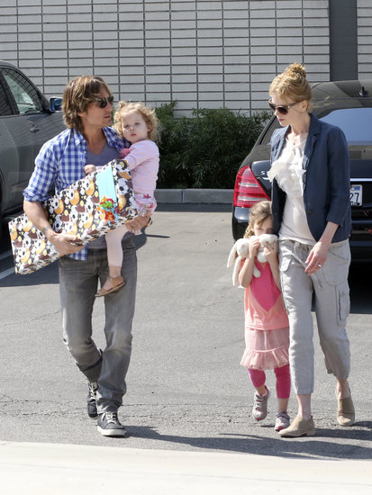 Nicole Kidman and Keith Urban took their daughters, Sunday Rose and Faith, to a birthday party in LA.