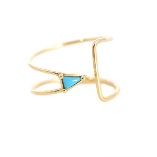 This gorgeous Mociun curved triangle ring ($557) will easily become your everyday ring.