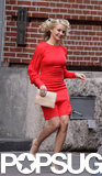 Cameron Diaz wore a tight red dress on set in NYC.