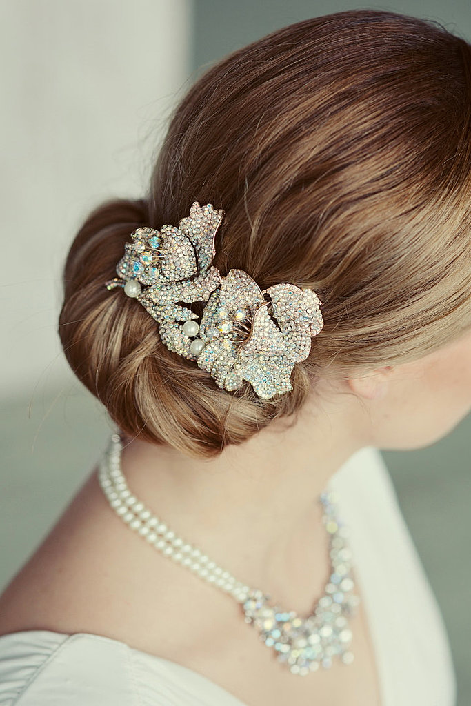 Add this vintage-inspired crystal wedding comb ($81) to your updo for a sparkling statement.