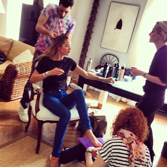 Model Doutzen Kroes was getting every limb primped and preened for this year's Met Gala. Source: Instagram user doutzenkroes1
