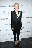 Carey Mulligan completed her menswear-inspired look — Lanvin tuxedo jacket and trousers — with ankle-strap Brian Atwood sandals at the pre-Met Ball screening of The Great Gatsby in NYC.