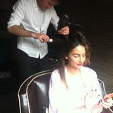Lily Aldridge checked her phone while getting her hair done before the Met Gala.  Source: Instagram user victoriassecret