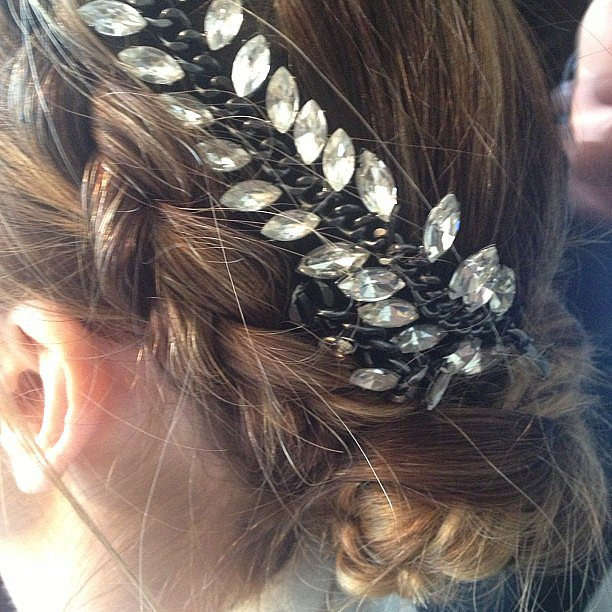Minka Kelly adorned her braid with a jeweled headpiece.  Source: Instagram user thewallgroup