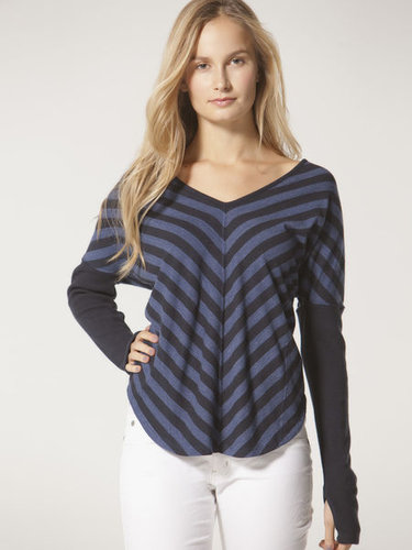 Chevron stripe lux jersey tee with glove detail