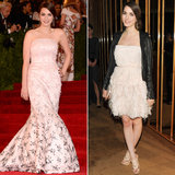 Bee Shaffer went with a sweeping pink embroidered Christian Dior fishtail gown at the Met Gala but kept it cocktail-length for everything that came after. We love that she added a tougher leather jacket, a very evening-appropriate touch.