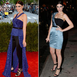 Mad Men's Jessica Paré went from purple Jason Wu to a custom blue-and-black one-shouldered minidress, also by Jason Wu.