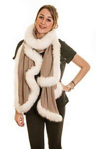 Taupe Fine-Pashmina Shawl with Ivory Fox Fur