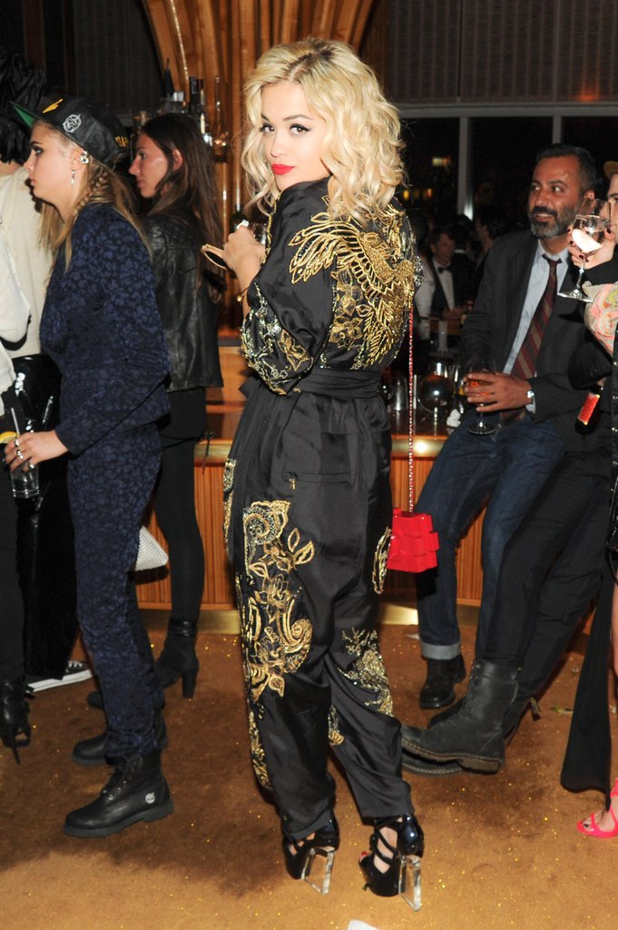Rita Ora wore a jumpsuit. Source: Neil Rasmus/BFAnyc.com