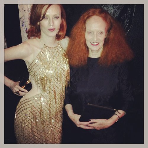 Karen Elson linked up with her fellow redhead Grace Coddington. Source: Instagram user misskarenelson