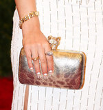 Rita Ora carried a shiny animal-print clutch. Photo: Julian Mackler BFAnyc.com