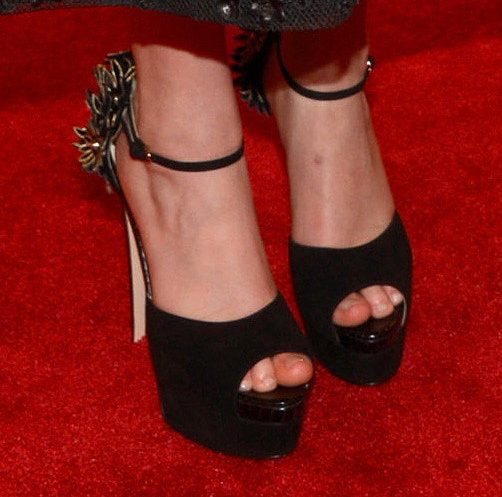 Jennifer Lawrence wore sky-high Brian Atwood pumps.