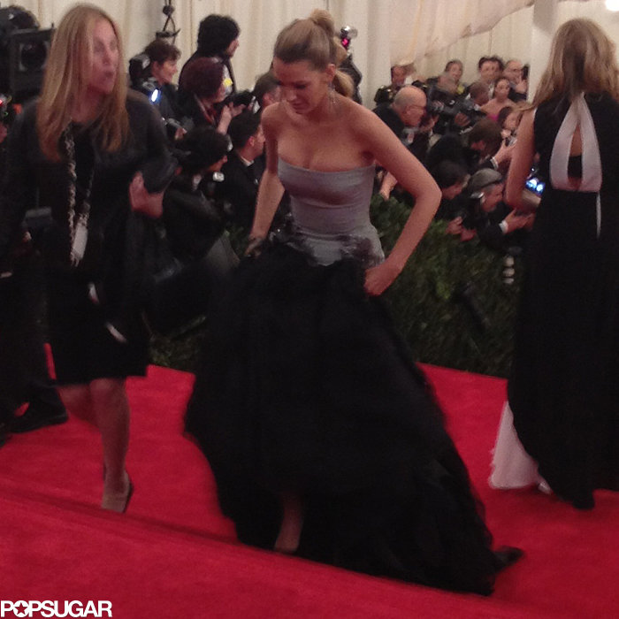 Blake Lively didn't need help with her gown getting up the stairs.
