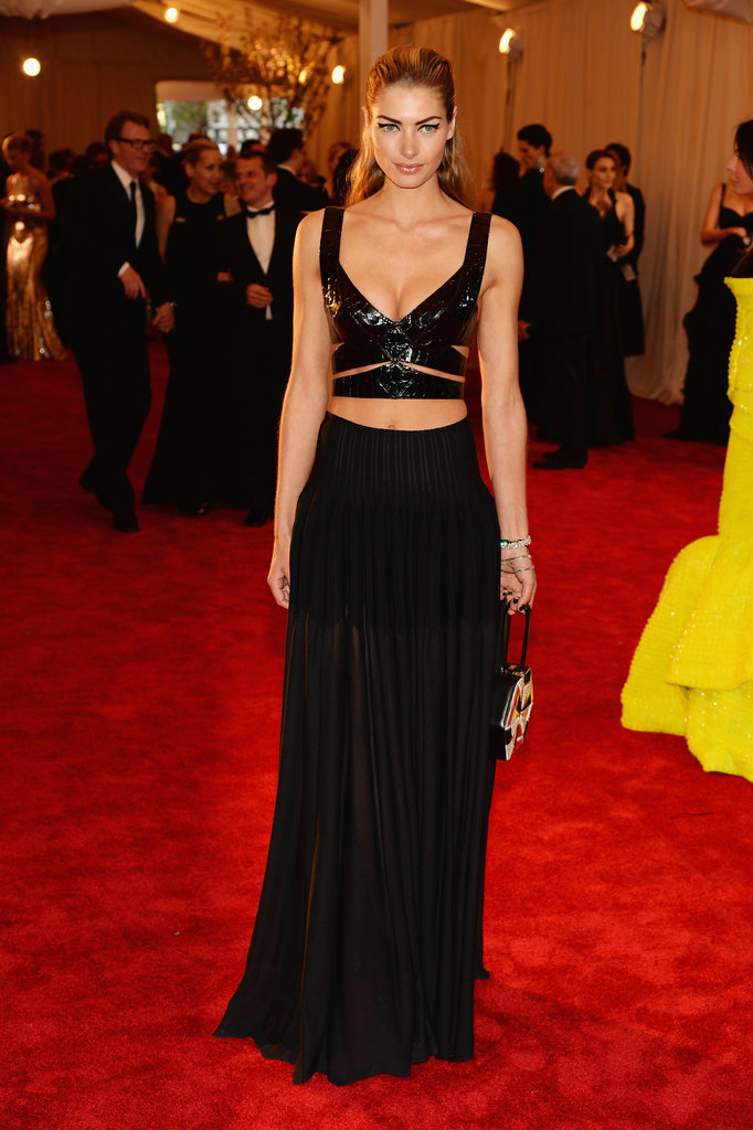 Jessica Hart wasn't afraid to show some skin in a black leather cutout crop top and a sheer black maxi skirt.