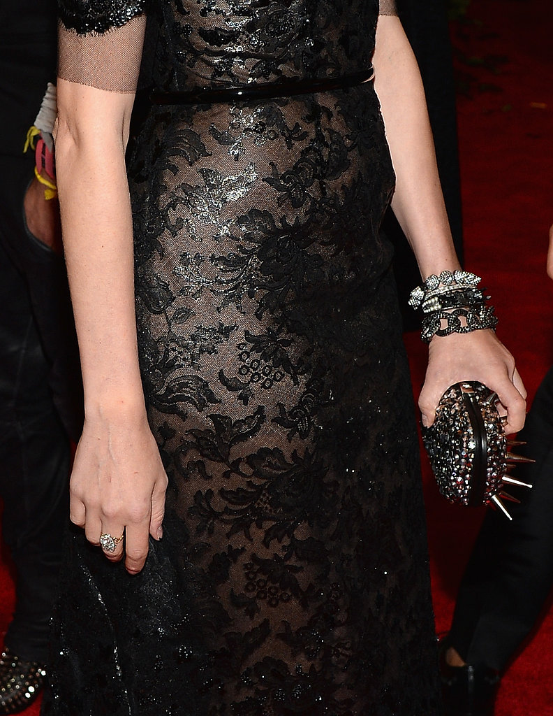Diane Kruger wore Jacob & Co. jewels and a spiked and studded clutch.