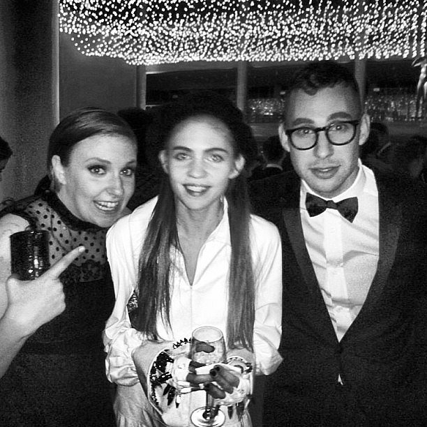 Lena Dunham and boyfriend/Fun. rocker Jack Antonoff met musician Grimes at the Met Gala. Source: Instagram user duckyantonoff