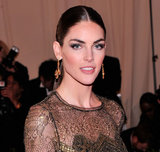 A pair of jewel-drop earrings completed Hilary Rhoda's red-carpet style.