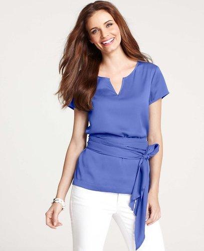 Wraparound Waist Short Sleeve Top