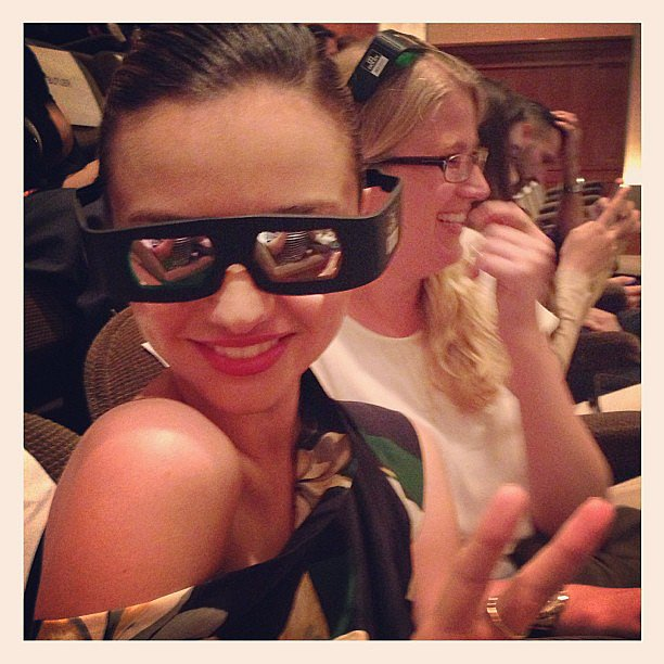 Miranda Kerr showed off a chic pair of 3D glasses while attending a screening of The Great Gatsby. Source: Instagram user mirandakerr