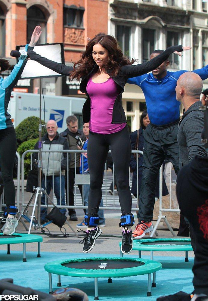 Megan Fox jumped on a trampoline.