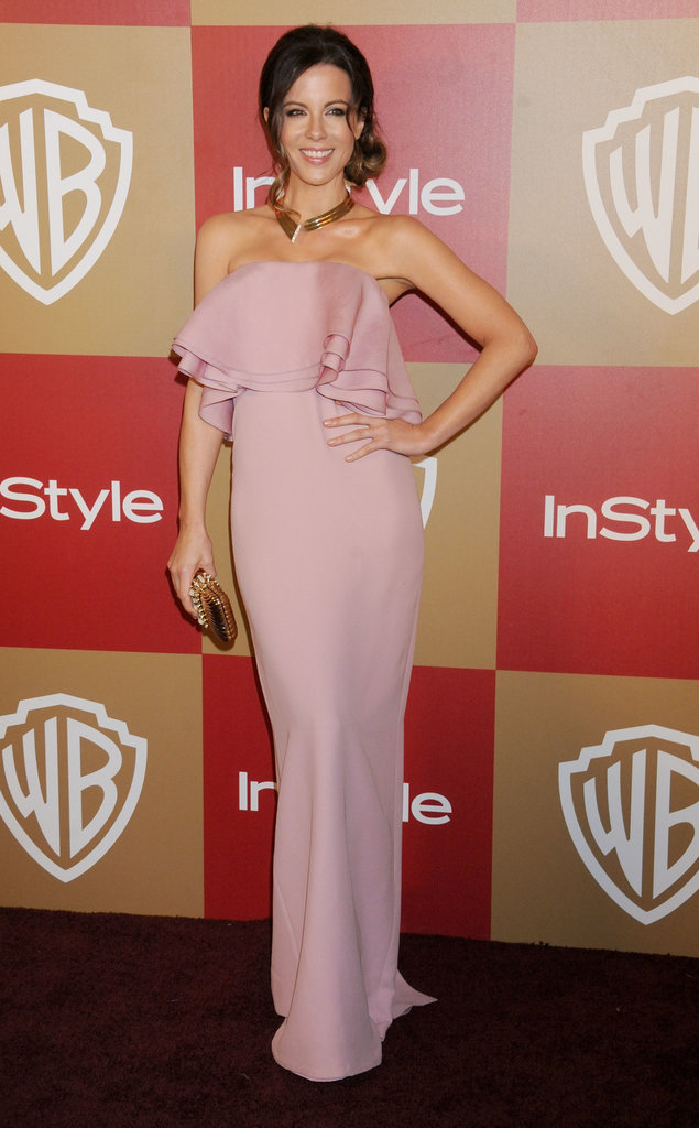 If you want your bridesmaids to look every bit the feminine style setter, then mimic Kate Beckinsale's pale pink strapless ruffled Gucci gown, which she showed off at the Warner Bros. Golden Globes afterparty.