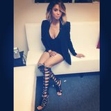 Yowza! Ciara showed off a hot black-on-black look with knee-high sandal boots. Source: Instagram user ciara