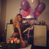 Rihanna's friends brought her balloons and flowers after her Brooklyn concert. Source: Instagram user badgalriri