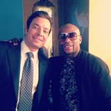 Jimmy Fallon posed with boxer Floyd Mayweather backstage on his talk-show set. Source: Instagram user floydmayweather