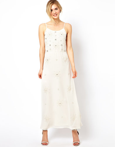 Frock and Frill Maxi Dress with All Over Embellishment and Tie