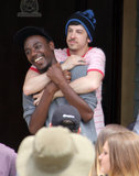 Townies star Christopher Mintz-Plasse hugged it out with a costar on their LA set Thursday.