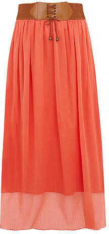 Coral belted boho maxi skirt