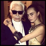 Cara Delevingne cosied up to Karl Lagerfeld at a Chanel event in Singapore. Source: Instagram user caradelevingne