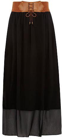 Black belted boho maxi skirt