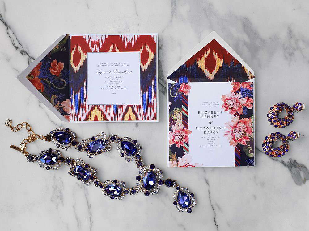 Ikat meets floral in the best of ways, and we're obsessed. Perfect for a garden party or luncheon, these ikat invites (prices vary) are fashion-forward and fitting for Summer.
