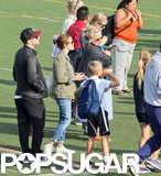 Reese Witherspoon and Ryan Phillippe reunited on the sidelines of their daughter Ava's track meet in LA.