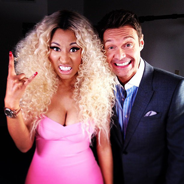 Nicki Minaj got fierce with Ryan Seacrest on the set of American Idol. Source: Instagram user ryanseacrest