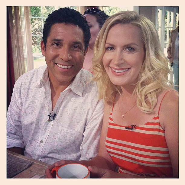 Oscar Nuñez and Angela Kinsey grabbed some coffee while making press rounds for the final episode of The Office. Source: Instagram user angelakinsey